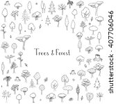 Hand drawn doodle Trees and Forest set. Vector illustration Plant icons Forest concept elements. Isolated silhouette nature symbols collection. Clipart design. Leaf Fir Ever green Branch Stump