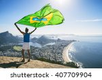 athlete stands holding a... | Shutterstock . vector #407709904