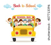 children enjoy on school bus ... | Shutterstock .eps vector #407713396
