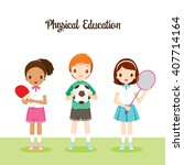 children with sport instruments ... | Shutterstock .eps vector #407714164