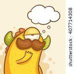 thinking monster with thought... | Shutterstock .eps vector #407714308
