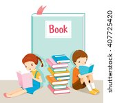 boy and girl reading book ... | Shutterstock .eps vector #407725420