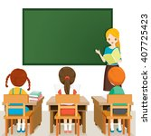 teacher teaching students in... | Shutterstock .eps vector #407725423