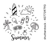 summer vector icon in doodle... | Shutterstock .eps vector #407739793