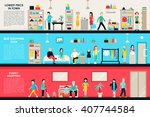 shopping center and boutique... | Shutterstock .eps vector #407744584