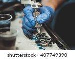 master tattoo artist prepares...   Shutterstock . vector #407749390