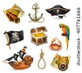 Sea Pirates  Vector Icon Set