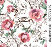 watercolor roses seamless... | Shutterstock .eps vector #407771140