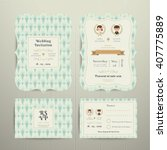 art deco cartoon couple wedding ...   Shutterstock .eps vector #407775889