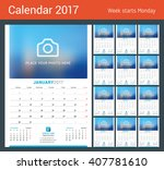 wall monthly calendar for 2017... | Shutterstock .eps vector #407781610