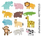 animal collection in sheet with ... | Shutterstock .eps vector #407785213