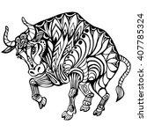 bull  cow  black and white... | Shutterstock .eps vector #407785324