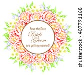invitation with floral... | Shutterstock . vector #407791168