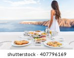 breakfast table and luxury... | Shutterstock . vector #407796169
