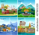 european touristic icon set... | Shutterstock .eps vector #407801320