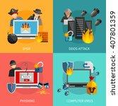 hacker 2x2 flat design concept... | Shutterstock .eps vector #407801359