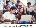 group of happy teen high school ... | Shutterstock . vector #407807179