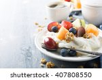 breakfast  quark with granola ... | Shutterstock . vector #407808550