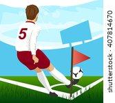 Soccer Player Taking Corner Kick