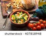 ribollita  tuscan soup classic  ... | Shutterstock . vector #407818948