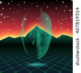 retro wave shiny head...   Shutterstock .eps vector #407819314