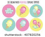 cupcake toppers. ice cream party | Shutterstock .eps vector #407820256