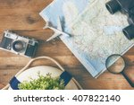 go on an adventure  the map and ... | Shutterstock . vector #407822140