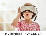 cute little child girl playing...   Shutterstock . vector #407822719