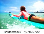 kid girl is learning surfing ... | Shutterstock . vector #407830720