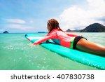 kid girl is learning surfing ... | Shutterstock . vector #407830738