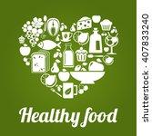 healthy food concept  vintage... | Shutterstock . vector #407833240
