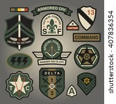 Set Of Military and Army Patches and Badges 3 | Shutterstock vector #407836354