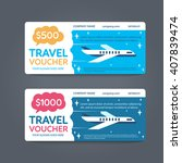 a gift travel voucher. vector... | Shutterstock .eps vector #407839474