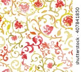 watercolor paisley seamless... | Shutterstock .eps vector #407841850