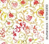 watercolor paisley seamless...   Shutterstock .eps vector #407841850