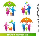 set of family icons. happy... | Shutterstock . vector #407842594
