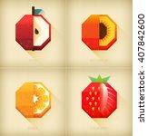 vector stylized fruits set in... | Shutterstock .eps vector #407842600