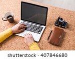 businessman typing  coffee ... | Shutterstock . vector #407846680