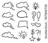 vector hand drawn set of sketch ... | Shutterstock .eps vector #407846728
