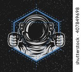 astronaut with a geometric...   Shutterstock .eps vector #407849698