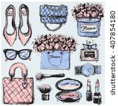 big vector fashion sketch set.... | Shutterstock .eps vector #407854180