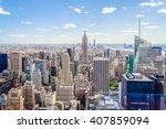 aerial view of manhattan... | Shutterstock . vector #407859094
