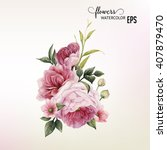 flowers and leaves  watercolor  ... | Shutterstock .eps vector #407879470