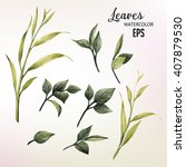 leaves  watercolor  can be used ... | Shutterstock .eps vector #407879530