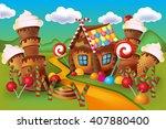 illustration of sweet house of... | Shutterstock .eps vector #407880400