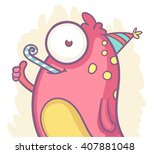 happy cartoon monster having... | Shutterstock .eps vector #407881048