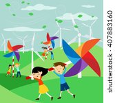 save the earth   green energy... | Shutterstock .eps vector #407883160