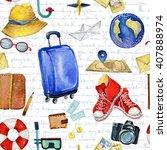 travel set. watercolor... | Shutterstock . vector #407888974