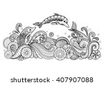 hand drawn zentangle three... | Shutterstock .eps vector #407907088