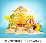 Colorful Retro Beach Hut  ...